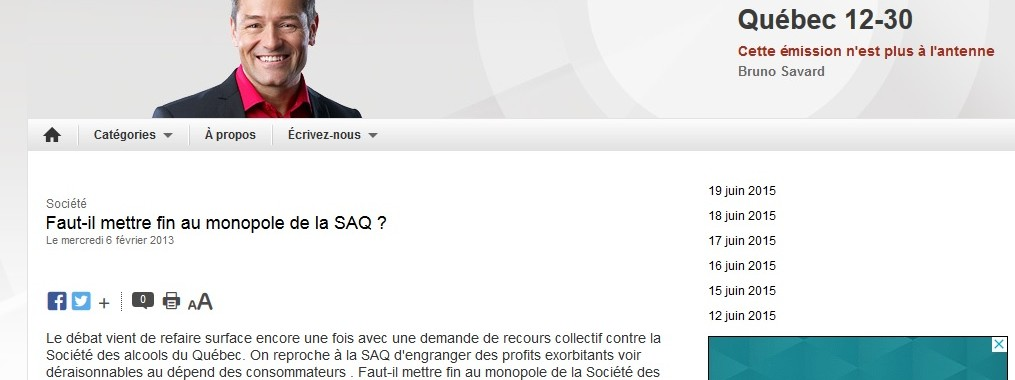 Faut-il mettre fin au monopole de la SAQ Québec 12-30
