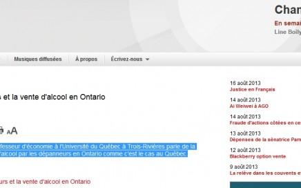 Les dépanneurs et la vente d'alcool en Ontario Champ libre Radio Canada