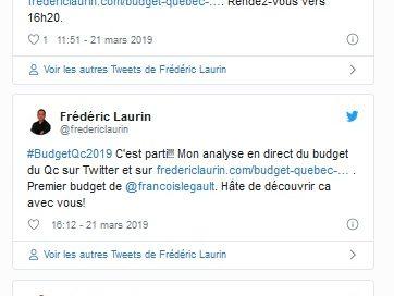 Analyse Twitter du Budget du Québec 2019