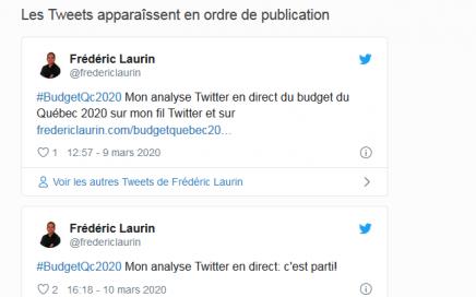 Analyse Twitter du budget 2020 du Gouvernement du Québec